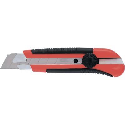 Нож 25мм выдвижные лезвия металлическая направляющая ,двухкомпонентный корпус,винтовой фиксатор с магнитом MATRIX 78913