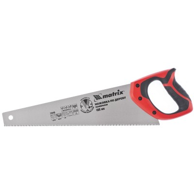 Ножовка по дереву, 400 мм, 7-8 TPI, зуб - 3D, каленый зуб, двухкомпонентная рукоятка MATRIX 23540