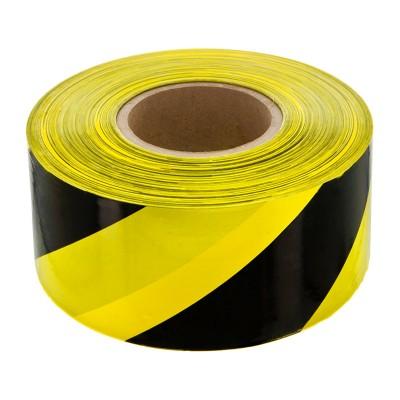 Лента сигнальная 50мм*200м Милен для ограждений, черно-желтая