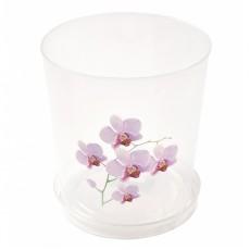 Горшок цветочный  для орхидеи 1,8л с поддоном прозрачный