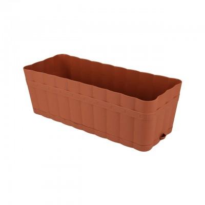 """Ящик для цветов прямоугольный """"Изюминка"""" 6 л с поддоном (коричневый)"""