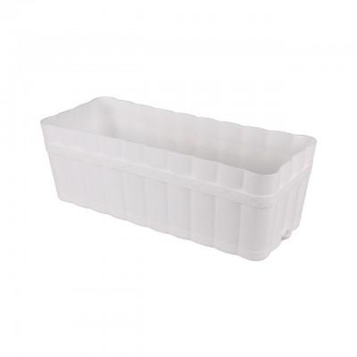 Ящик для цветов Изюминка с поддоном 12л белый  М3356