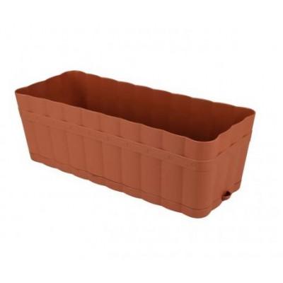 Ящик для цветов Изюминка с поддоном 12л коричневый