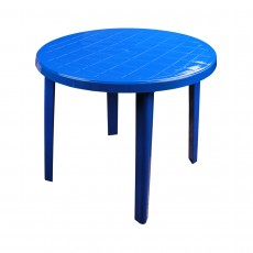 Стол пластиковый круглый (900х900х750 мм) синий (М2663)
