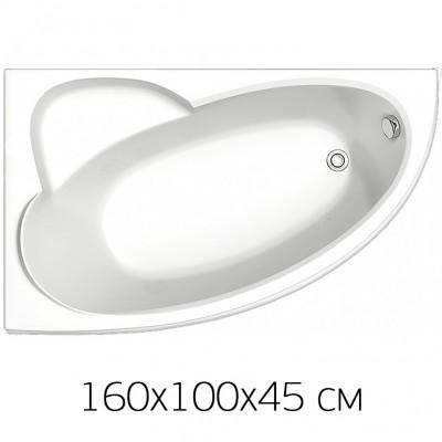 Ванна на раме Bas Sagra 160 х 100 (левая) без фронтальной панели, БЕЗ сифона