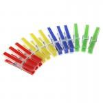 """Набор прищепок 12шт, пластик, с силиконовыми держателями, """"Квадрат"""", 4 цвета, D0303"""