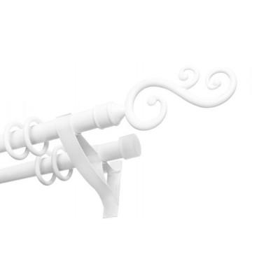 Карниз SWAN Д22 металлопластик двойной с наконечником 3 м Белый