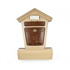 Почтовый ящик ЭЛИТ бежевый с коричневым