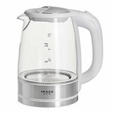 Чайник DELTA LUX DL-1204W корпус из жаропрочного стекла, белый: 2200 Вт, 1,7 л