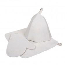 """Набор из трех предметов (Шапка, коврик, рукавица) белый """"Hot Pot"""""""